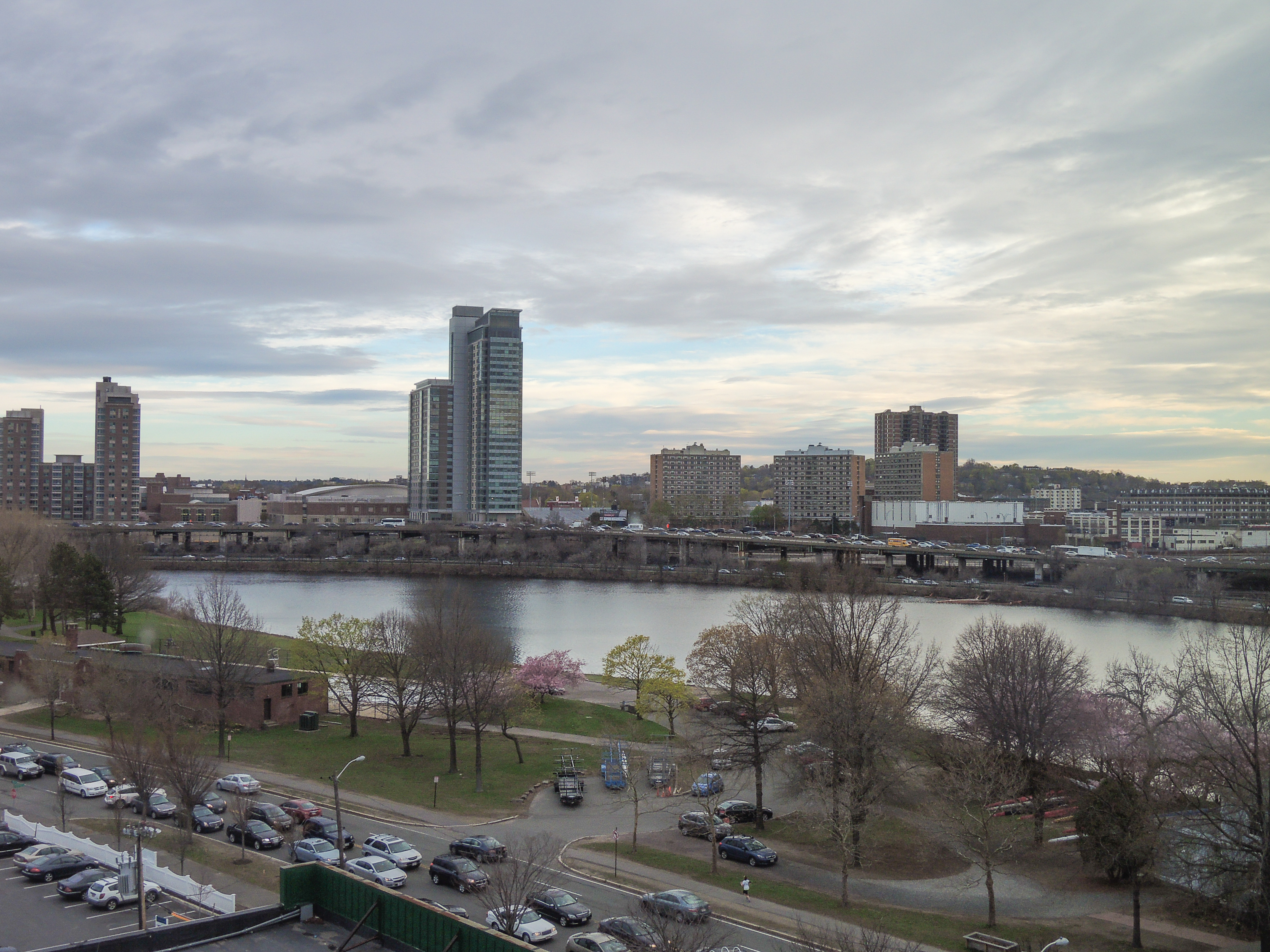The view from our hotel room on the St. Charles River